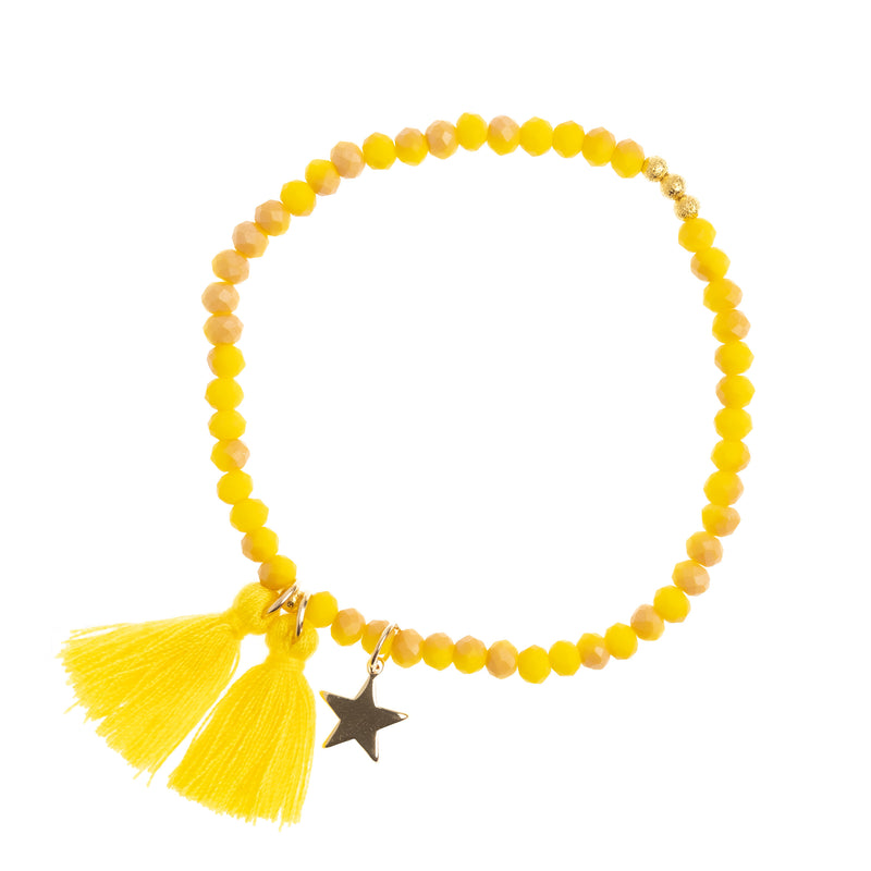 CRYSTAL BEAD BRACELET 4 MM SPARKLED YELLOW