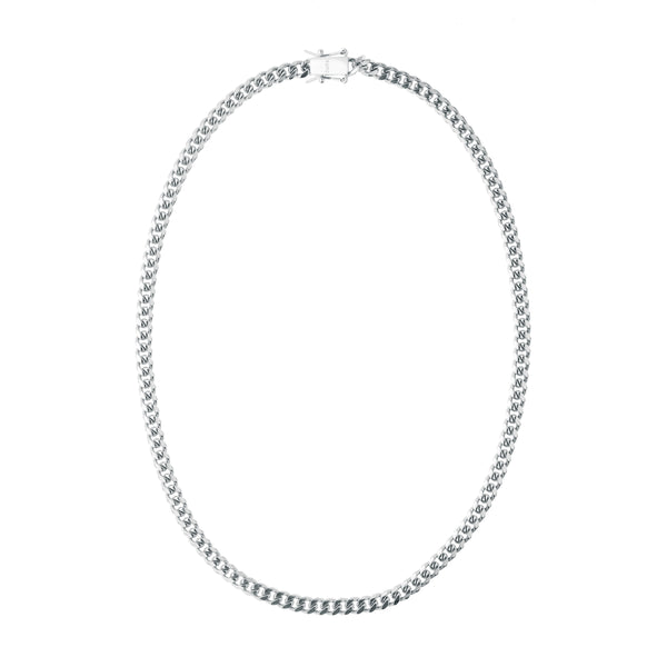 CUBAN CHAIN NECKLACE THIN SILVER