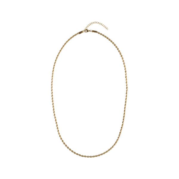 TWISTED CHAIN NECKLACE EXTRA THIN GOLD 55 CM
