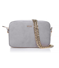 VELVET BOX BAG ELEPHANT GREY