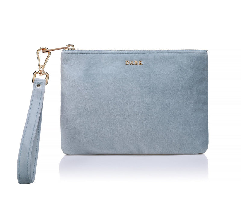 VELVET SMALL POUCH DUSTY BLUE