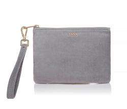 VELVET SMALL POUCH ELEPHANT GREY