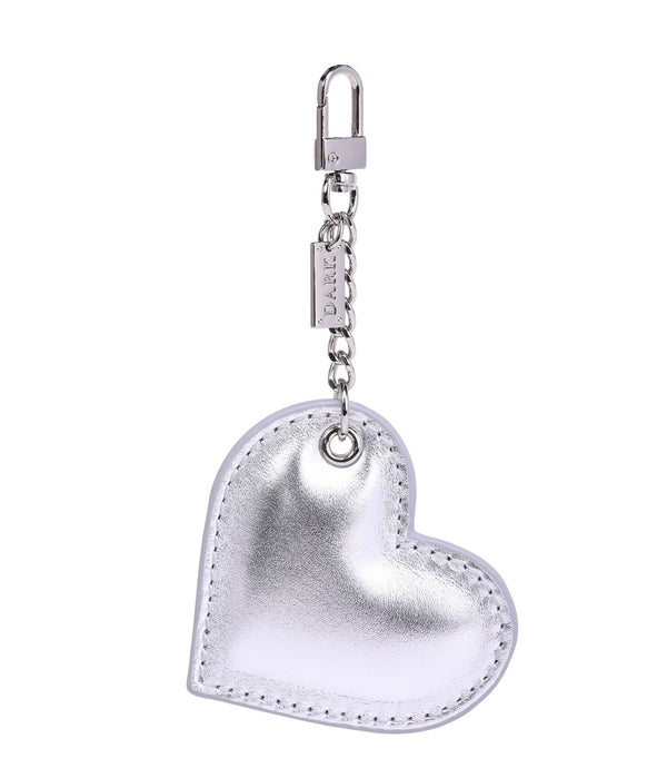 LEATHER HEART CHARM SILVER