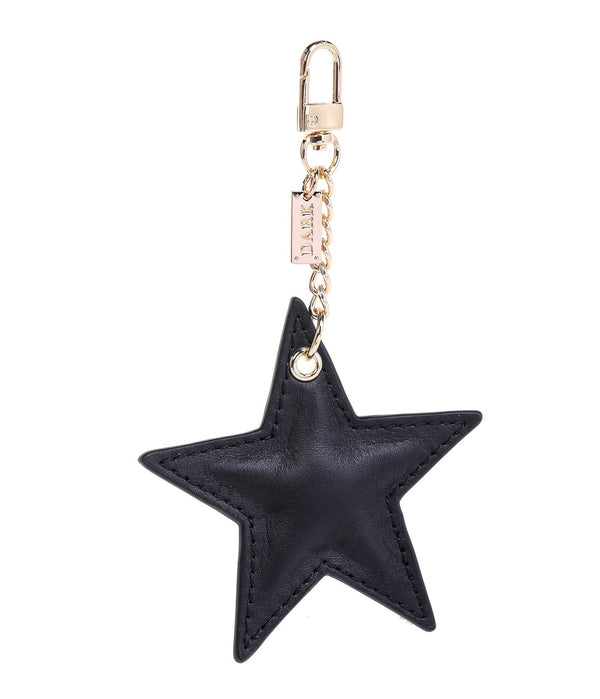 LEATHER STAR CHARM BLACK NAPPA W/GOLD