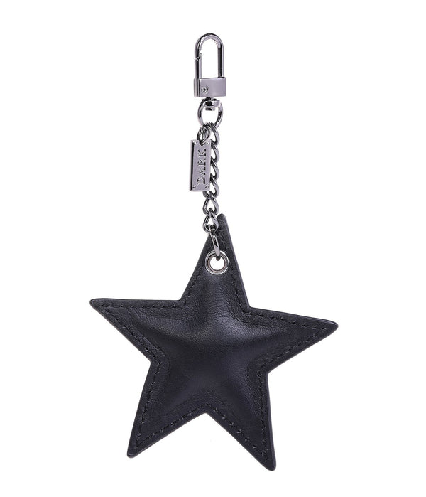 LEATHER STAR CHARM BLACK NAPPA W/GUNMETAL