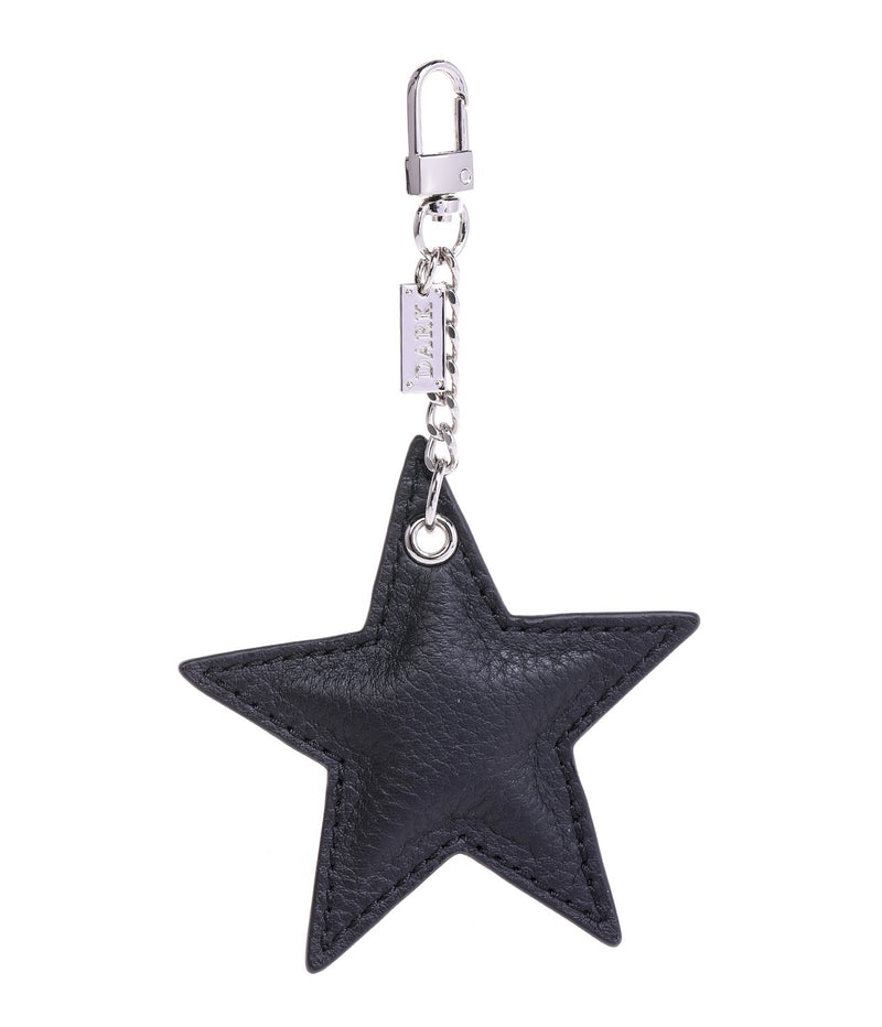 LEATHER STAR CHARM BLACK W/SILVER