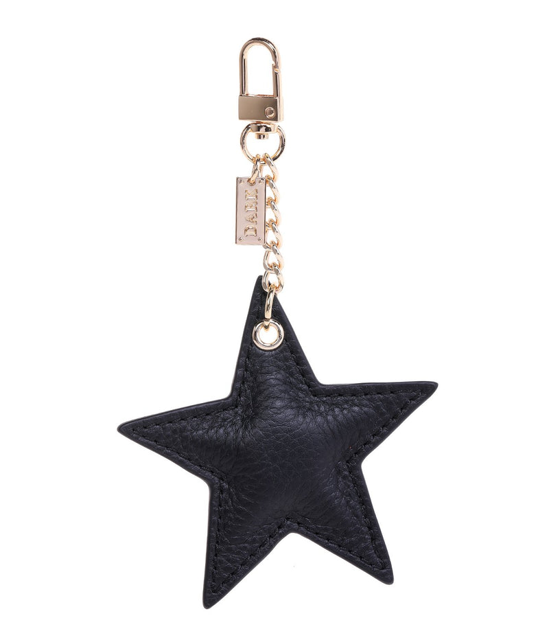 LEATHER STAR CHARM BLACK W/GOLD