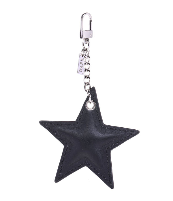 LEATHER STAR CHARM BLACK NAPPA W/SILVER