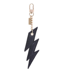 LEATHER LIGHTNING CHARM BLACK W/GOLD