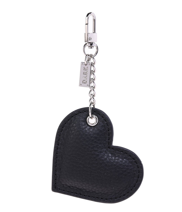 LEATHER HEART CHARM BLACK W/SILVER