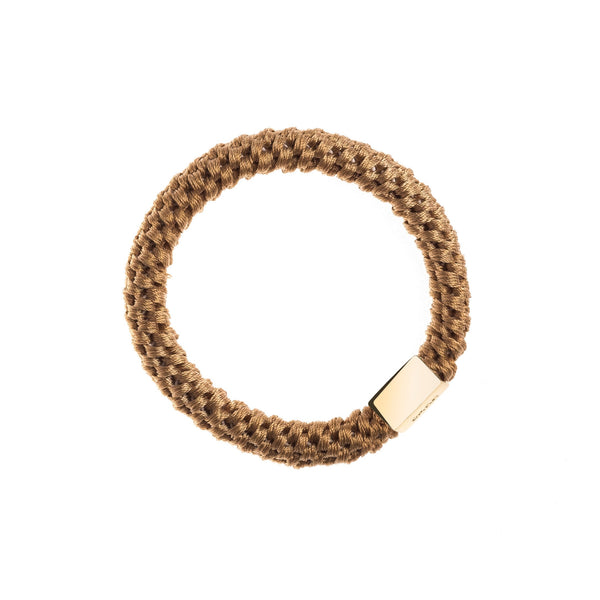FAT HAIR TIE BISCUIT W. GOLD PLATE