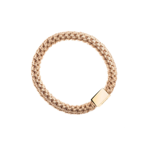 FAT HAIR TIE CAMEL W/GOLD