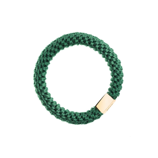 FAT HAIR TIE GREEN W/GOLD