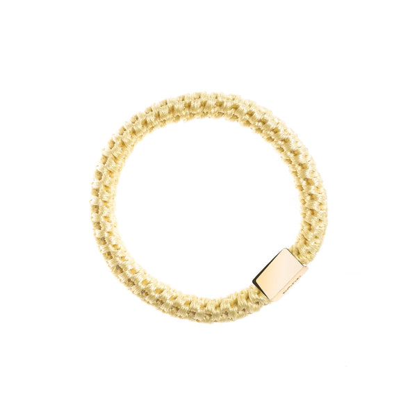 FAT HAIR TIE PALE YELLOW W/GOLD