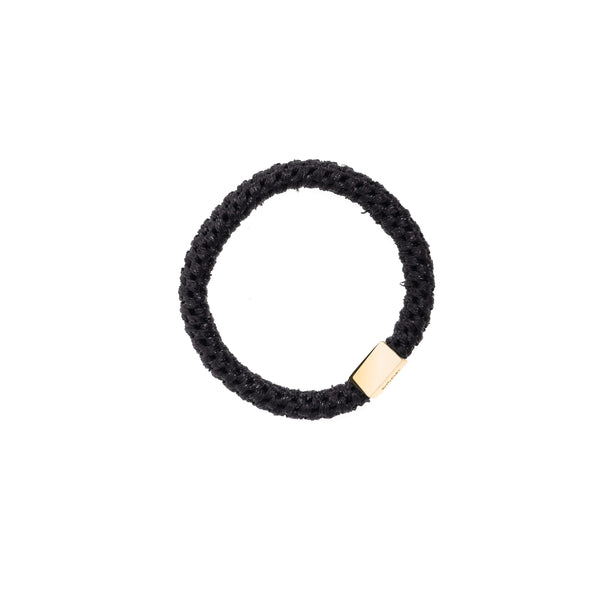 FAT HAIR TIE SPARKLED BLACK W/GOLD
