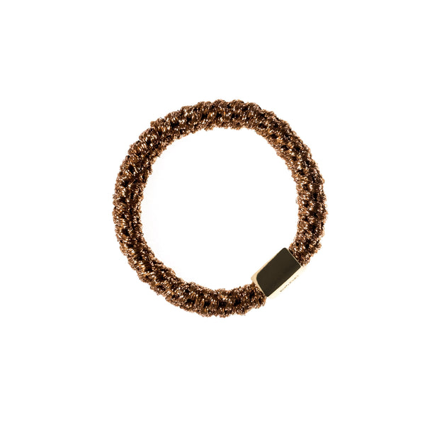 FAT HAIR TIE SPARKLED COPPER W/GOLD