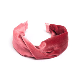 VELVET HAIR BAND FOLDED PINK