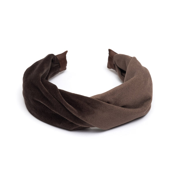VELVET HAIR BAND FOLDED CHOCOLATE BROWN