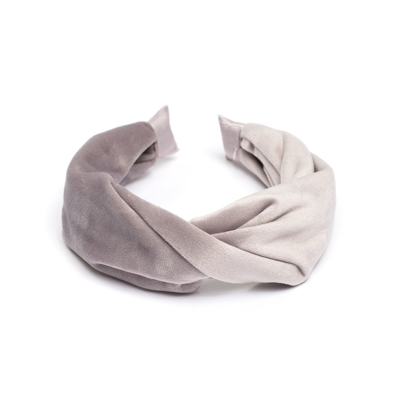 VELVET HAIR BAND FOLDED ELEPHANT GREY
