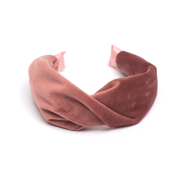 VELVET HAIR BAND FOLDED VINTAGE CORAL