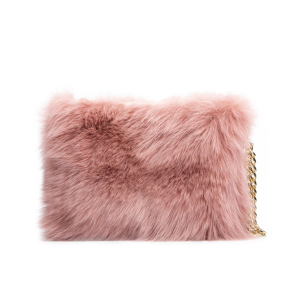 FOX FUR BAG ANTIQUE ROSE