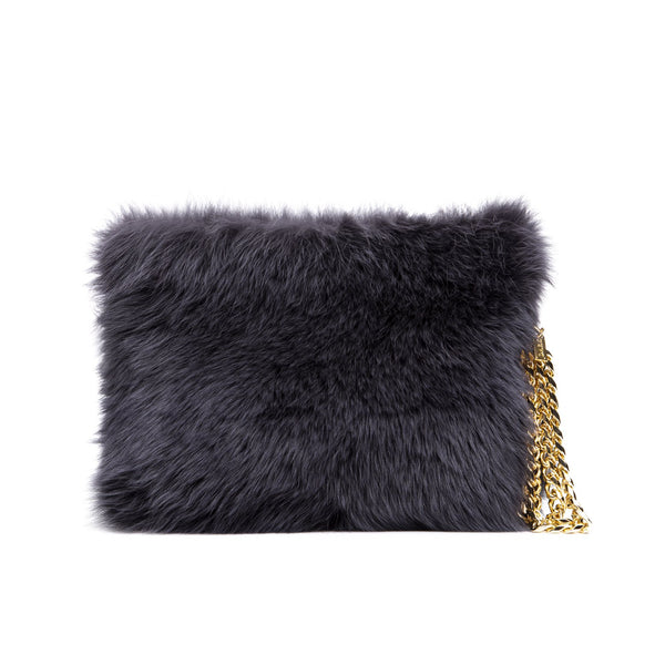 FOX FUR BAG CHARCOAL