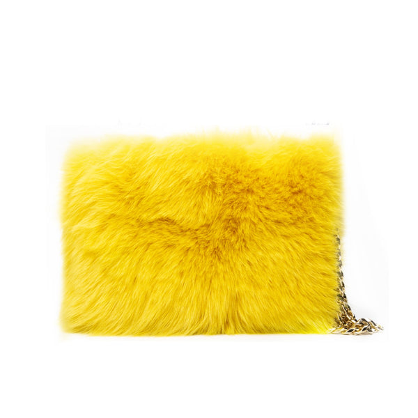 FOX FUR POUCH YELLOW