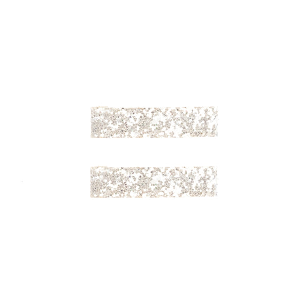 GLITTER HAIR CLIPS LARGE WHITE 2 PK