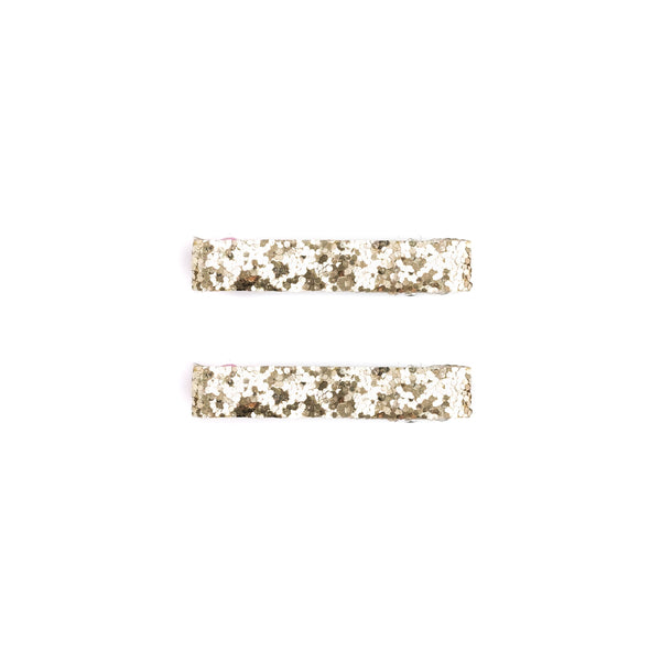GLITTER HAIR CLIPS GOLD 2 PK