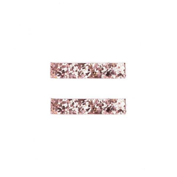 GLITTER HAIR CLIPS ROSE 2 PK