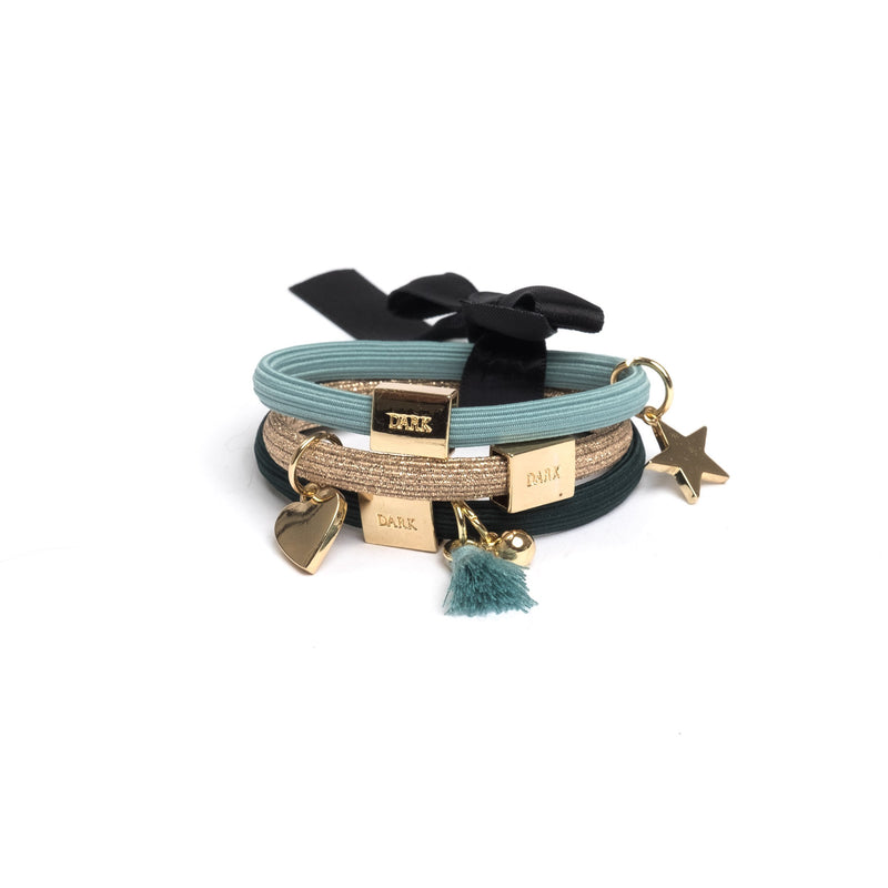 HAIR TIES 3 PK CHARM COMBO DARK TEALS