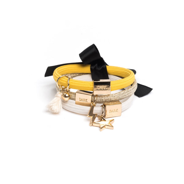 HAIR TIES 3 PK CHARM COMBO YELLOWS