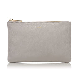 LEATHER SMALL POUCH LIGHT GREY