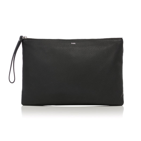 LEATHER LARGE POUCH BLACK W/SILVER