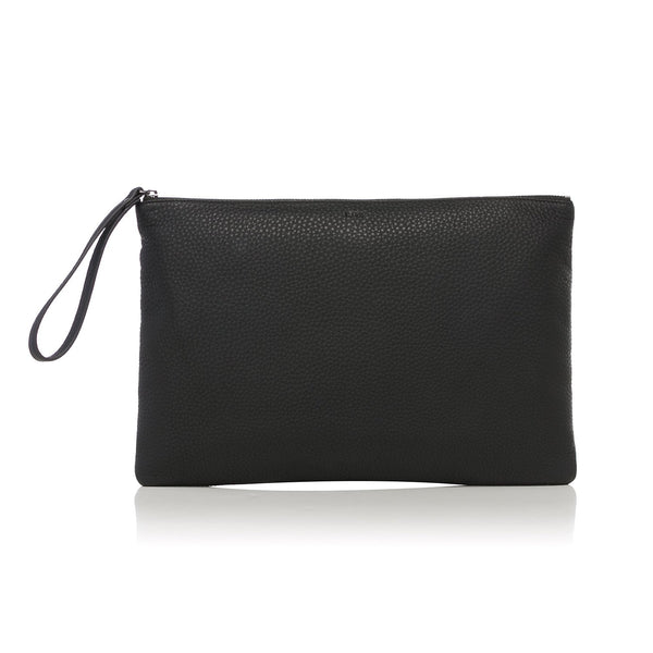 LEATHER LARGE POUCH BLACK W/GUN METAL