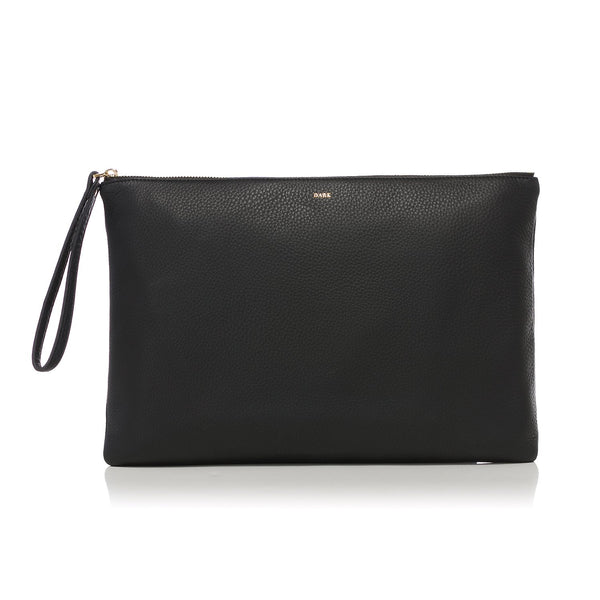 LEATHER LARGE POUCH BLACK W/GOLD