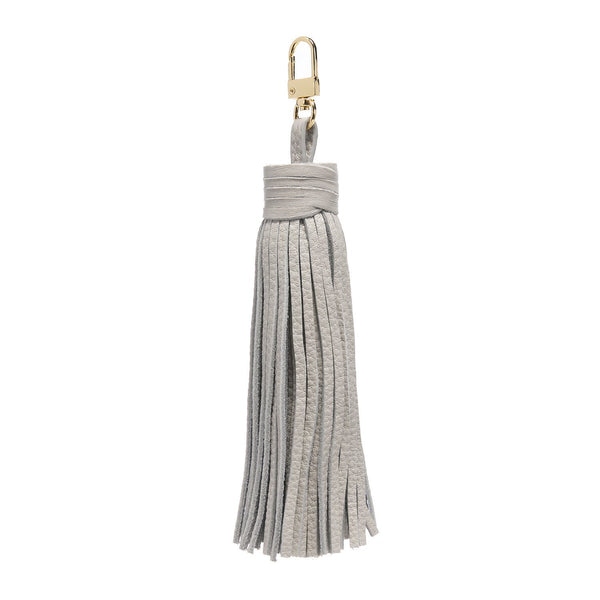 LEATHER TASSEL LIGHT GREY