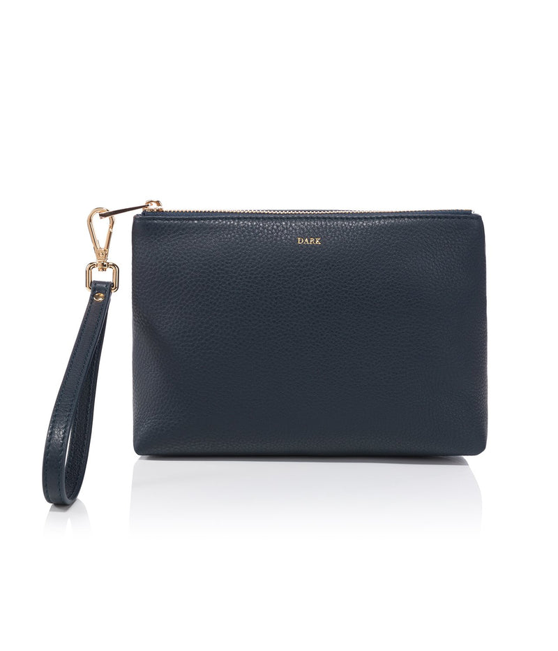 LEATHER STANDING POUCH NAVY BLUE