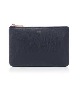 LEATHER SMALL POUCH NAVY BLUE