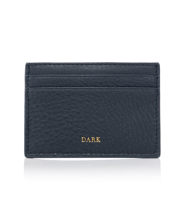 LEATHER CARD HOLDER NAVY BLUE