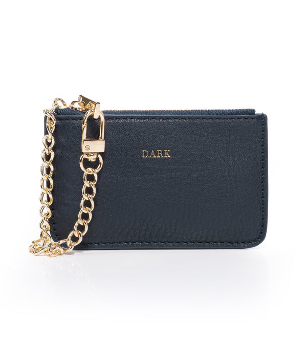 LEATHER COIN POUCH NAVY BLUE