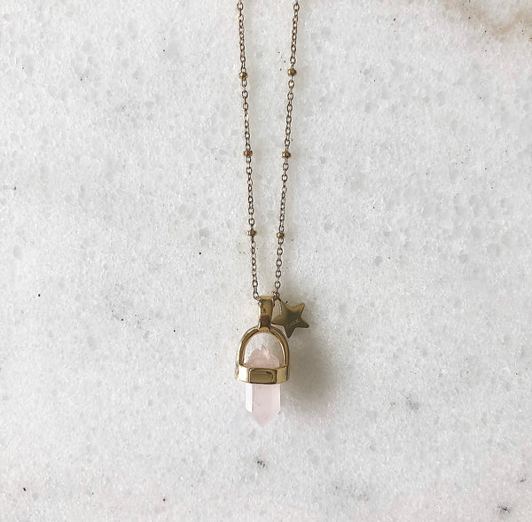 ROSE QUARTZ NECKLACE GOLD