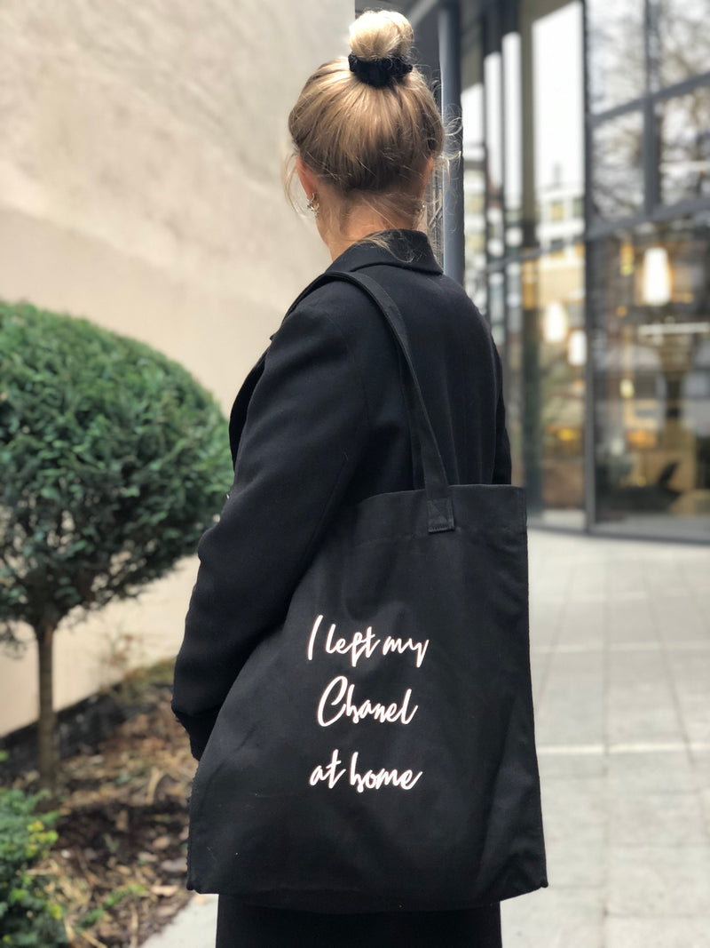 "CANVAS TOTE BAG ""I LEFT MY CHANEL AT HOME"" BLACK"