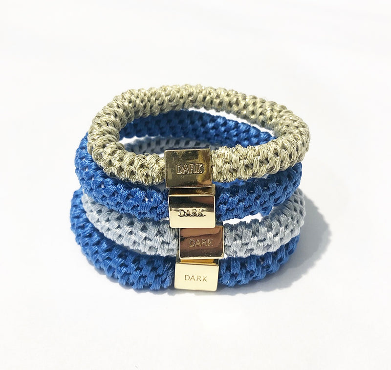 FAT HAIR TIES 4 PK COMBO BLUES
