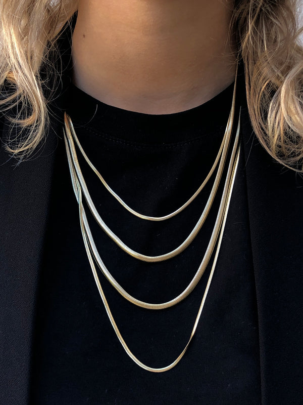 SNAKE CHAIN NECKLACE THIN GOLD 70 CM