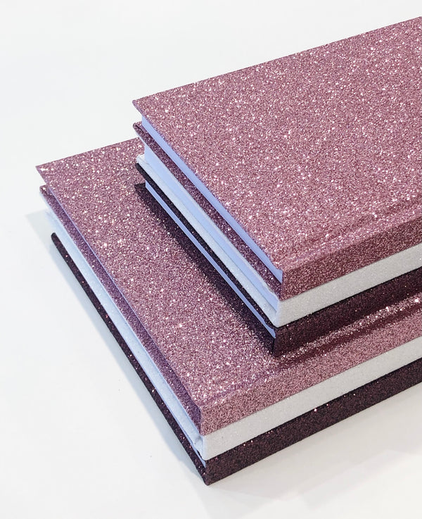 6 PK GLITTER NOTEBOOKS PINKS