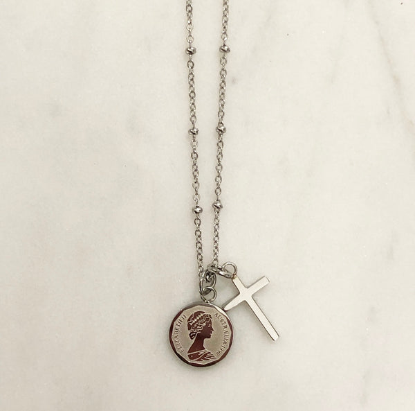 CROSS CHARM NECKLACE SILVER