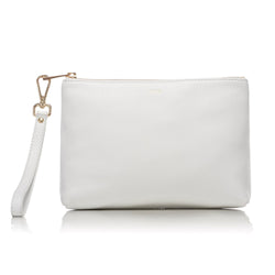 LEATHER STANDING POUCH WHITE