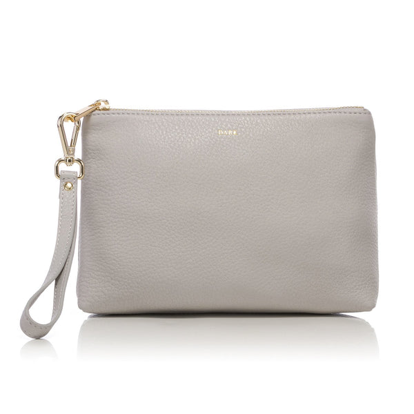 LEATHER STANDING POUCH LIGHT GREY