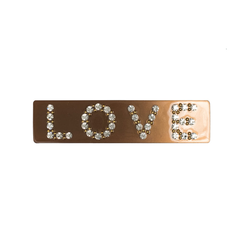 LOVE HAIR CLIP LARGE COGNAC